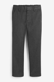 Grey Slim Waist Flat Front Trousers (3-17yrs)