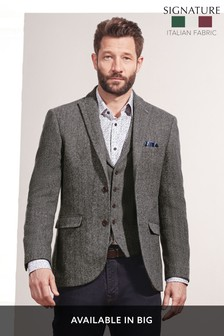 Grey Tailored Fit Signature Herringbone Blazer