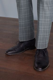 Black Signature Italian Leather Wing Cap Brogues