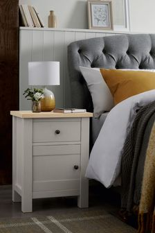 Dove Grey Malvern 1 Drawer Storage Bedside Table