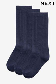 Navy 3 Pack Pointelle Knee High Socks