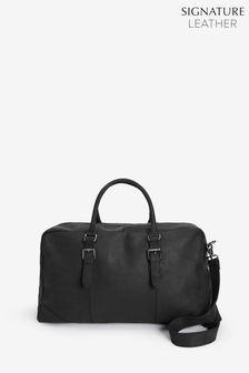 Black Signature Oiled Leather Holdall