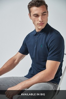 Navy Regular Fit Pique Poloshirt