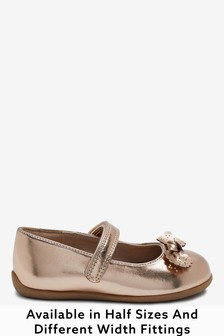 Rose Gold Wide Fit (G) Bow Mary Jane Shoes