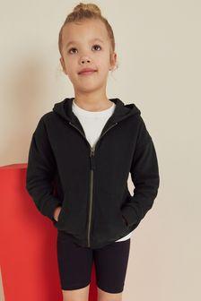 Black Zip Through Hoodie (3-16yrs)