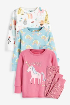 Pink/Blue 3 Pack Cotton Snuggle Pyjamas With Appliqué Unicorn (9mths-8yrs)