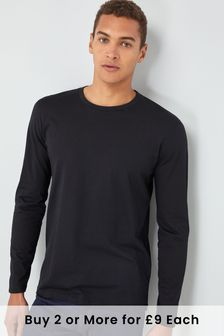 Black Regular Fit Long Sleeve Crew Neck T-Shirt