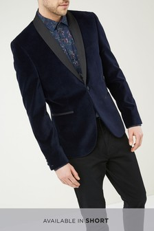 Navy Slim Fit Velvet Shawl Collar Tuxedo Jacket