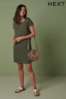 Khaki Relaxed Capped Sleeve Tunic Dress