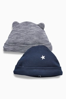 Navy/White 2 Pack Stripe/Star Print Beanie Hats (0-18mths)