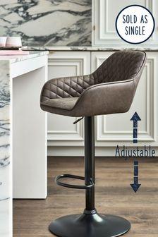 Monza Faux Leather Charcoal Hamilton Adjustable Black Leg Bar Stool