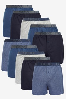 Blue Loose Fit Pure Cotton Ten Pack