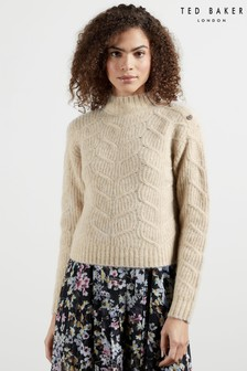 Ted Baker Brown Taliiey Chunky Cable Button Detail Sweater
