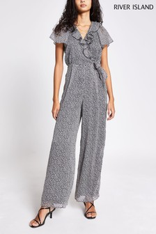 River Island Black Frill Front Tie Jumpsuit