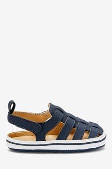 Navy Fisherman Pram Sandals (0-24mths)