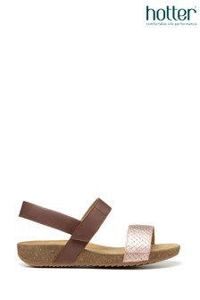 Hotter Tan Haven Touch Fastening Open Sandals