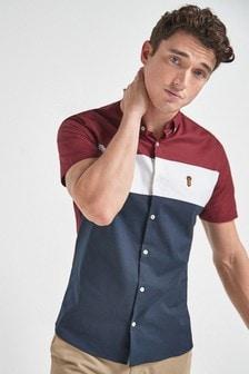 Red Slim Fit Stretch Oxford Colourblock Short Sleeve Shirt