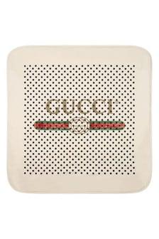 Baby White Cotton Polka Dots Vintage Logo Blanket