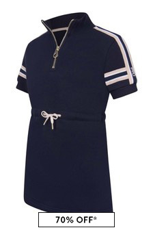 Girls Navy Short Sleeve Fleece Dress