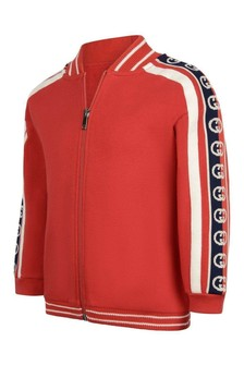 Boys Red Cotton Logo Zip Up Top