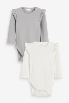 Grey/Ecru 2 Pack Frill Sleeve Bodysuits (0mths-2yrs)