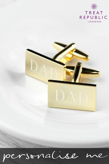 Personalised Gold Plated Cufflinks by Treat Republic