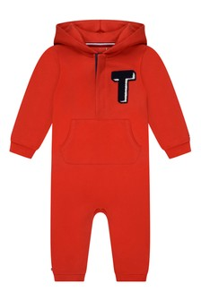 Baby Boys Red Cotton Coverall