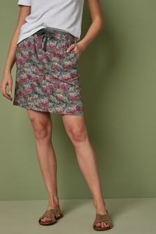 Khaki Floral Linen Blend Skirt