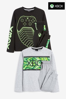 Monochrome 2 Pack Xbox Pyjamas (5-16yrs)