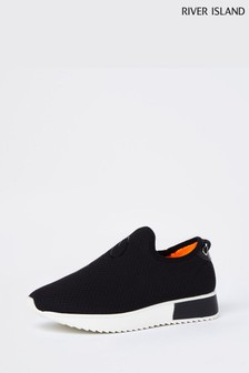 River Island Black Wide Fit Runner Trainers