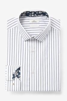 White Stripe Slim Fit Single Cuff Trim Detail Shirt