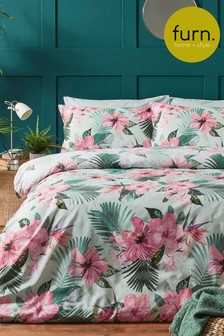 Hibiscus Duvet Cover and Pillowcase Set by Furn