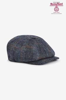 Navy Check Harris Tweed Baker Boy Hat