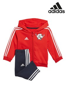 adidas Infant Red Football Hoody and Jogger Set