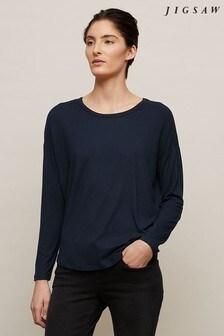 Jigsaw Blue Oversized Long Sleeve T-Shirt