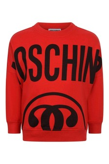 Boys Red Cotton Logo Sweater