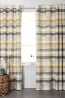 Geometric Stripe Eyelet Curtains