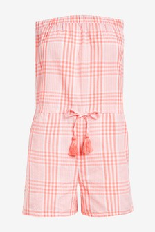 Coral Check Textured Bandeau Playsuit