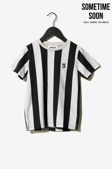Sometime Soon Grey Stripe T-Shirt