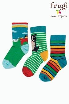 Frugi Blue Organic Rainbow, Cow And Sheepdog Socks Three Pack