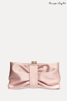 Phase Eight Pink Meaghan Satin Bow Clutch Bag