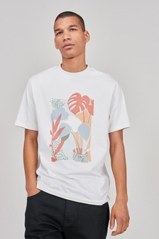Cream Abstract Leaf Graphic T-Shirt