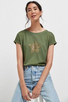 Embellished Star Khaki Curved Hem T-Shirt
