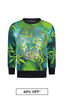 Boys Green Cotton Jungle Print Sweater
