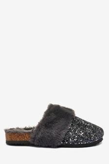 Black Glitter Mule Slippers