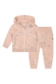 Baby Girls Pink Velour Star Tracksuit