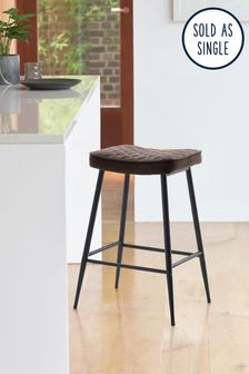 Monza Faux Leather Charcoal Hamilton Bar Stool With Black Legs