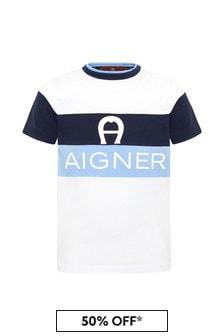 Aigner Boys Blue Cotton T-Shirt