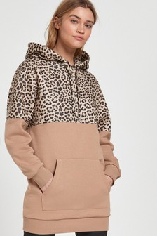 Tan/Animal Colourblock Longline Hoody