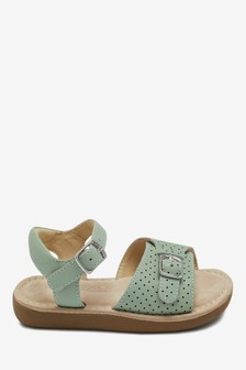 Mint Leather Standard Fit (F) Little Luxe™ Sandals (Younger)